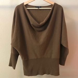 Brown Eileen Fisher 100% cashmere cowl neck sweate